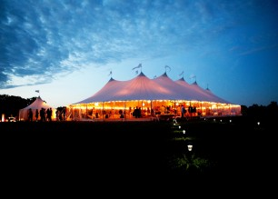A beautiful Sperry tent wedding at night.