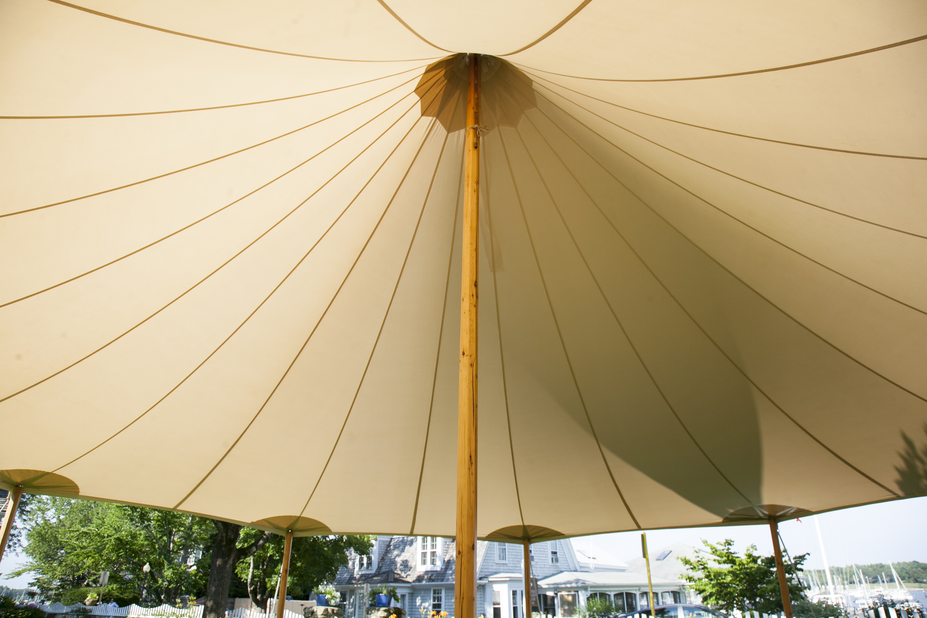 Sperry's nautical heritage is still evident in the sailcloth tent's materials and designs.