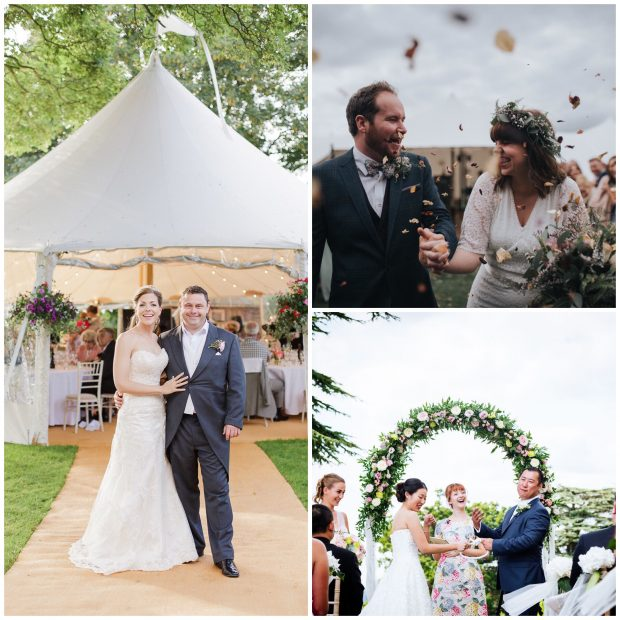UK Celebrant Samantha Kelsie's couples seen here at their PapaKåta Sperry Tent Weddings