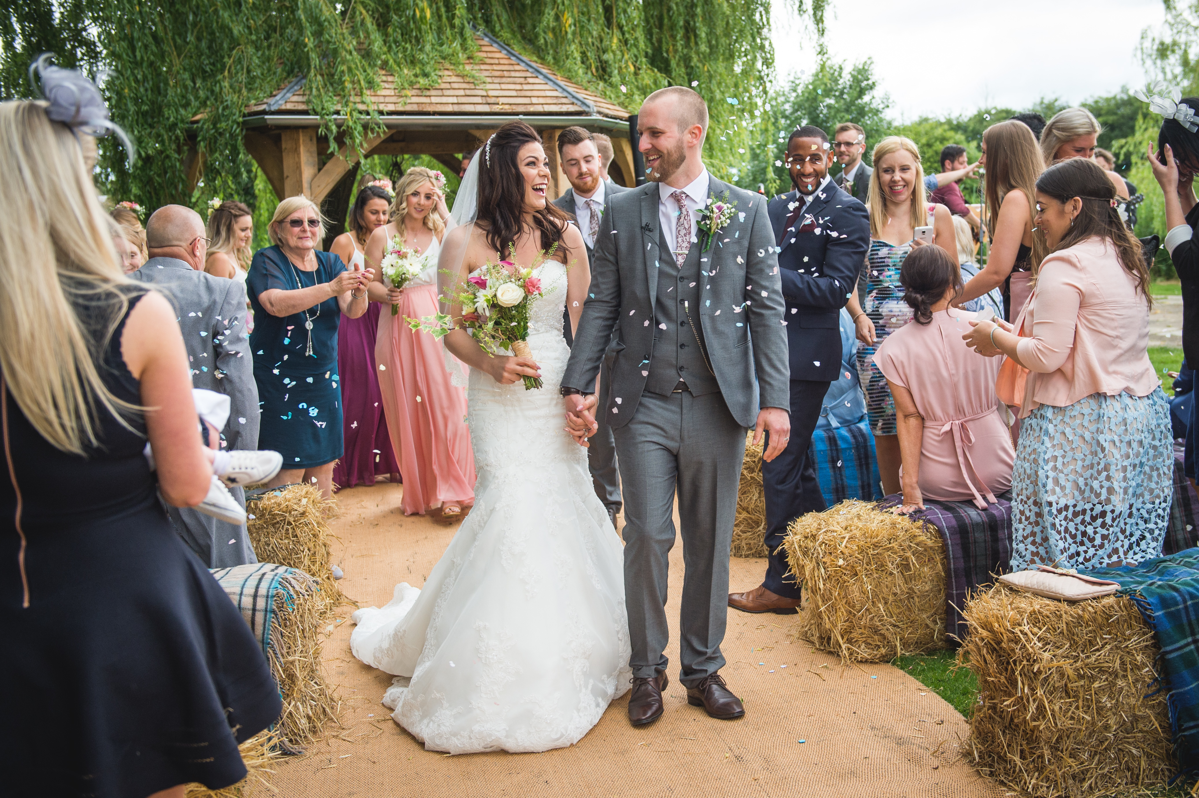 Haybale Wedding Ceremony at Skipbridge Country Wedding Venue captured by Will Hey Photography