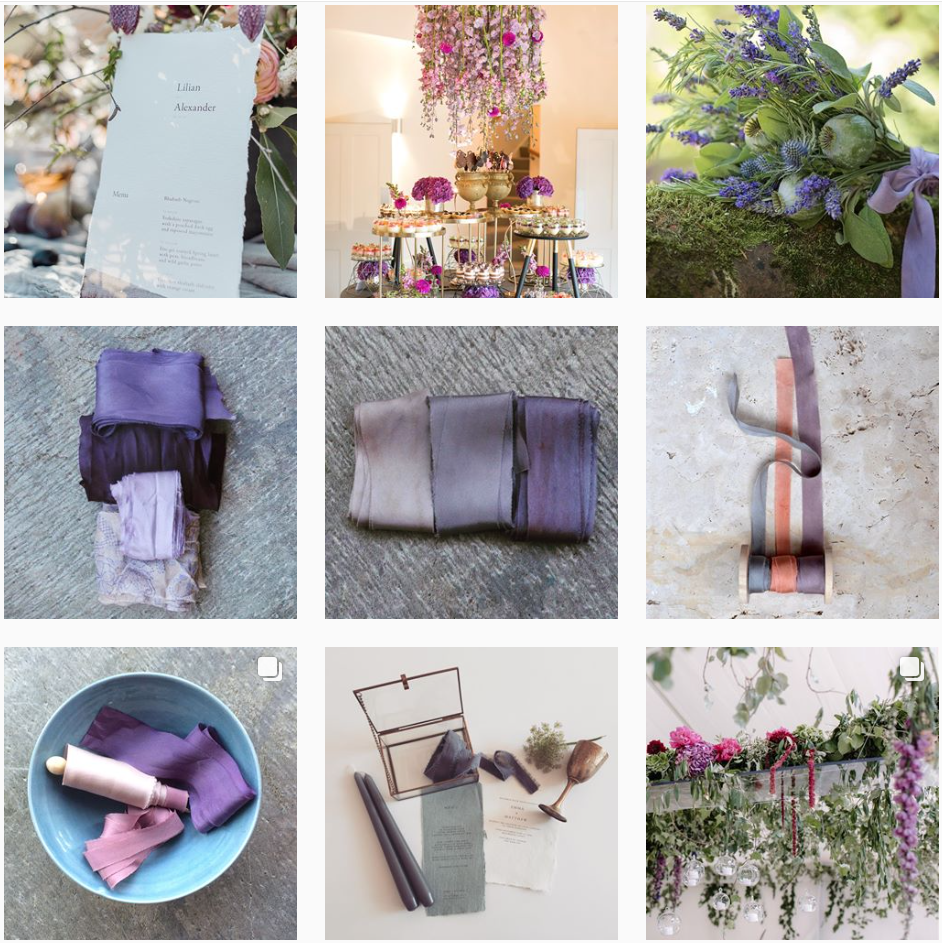 Ultra Violet inspiration dream team with stationery by Bureau Design, linens by Lancaster & Cornish and florals by Jay Archer and Hannah Berry Flowers