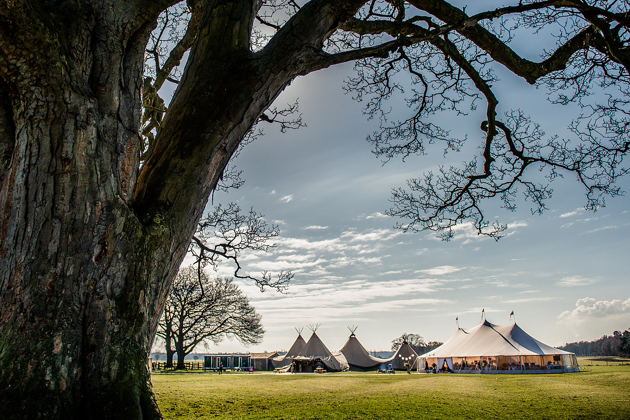 PapaKata Teepees & Sperry Tents in position at Escrick Park by Dominic Wright Photography