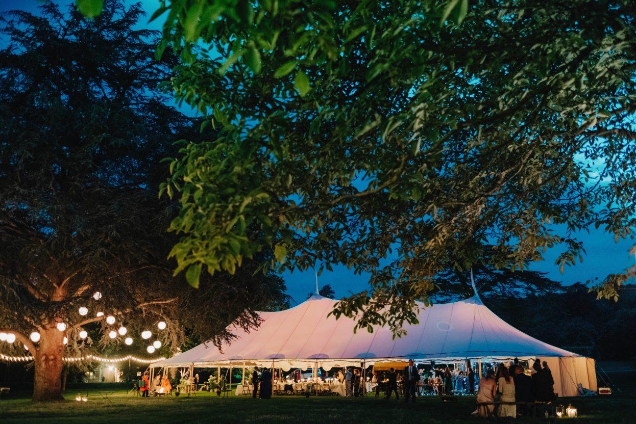 PapaKåta Sperry Tent Wedding at night at West Dean Gardens by Cinzia Bruschini