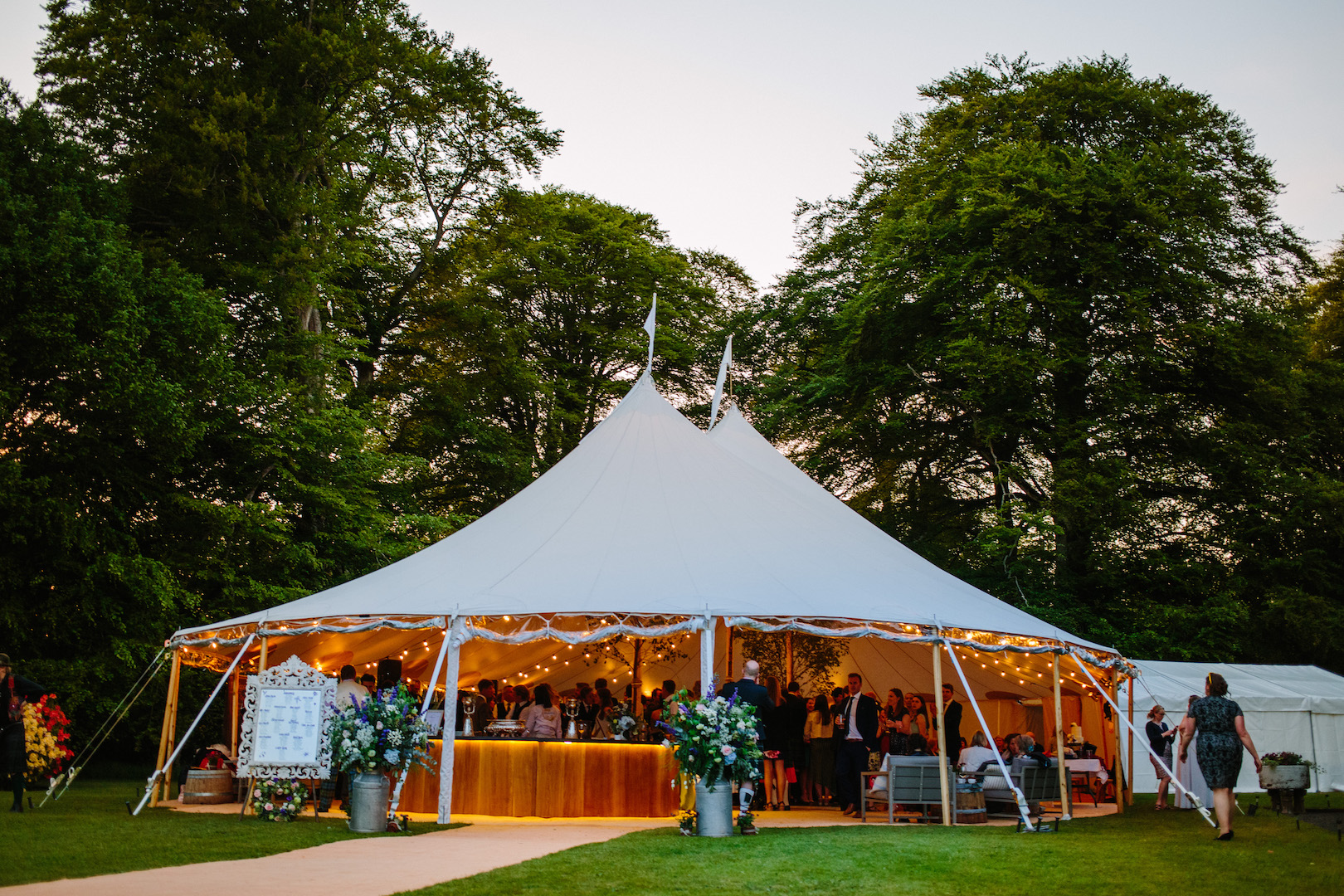 Alice & Alex's PapaKåta Sperry Wedding at Dunsinnan House, Scotland - Sperry Tent Exterior at Night captured by Eilidh Sutherland Photography