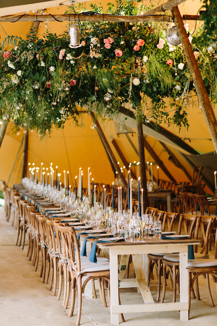 Brennan & Tom's PapaKåta Teepee Wedding, Cornwell Manor: 3m Floral Hoop by Fiona Perry Styling by Wedding Planner: Kerry Poulter