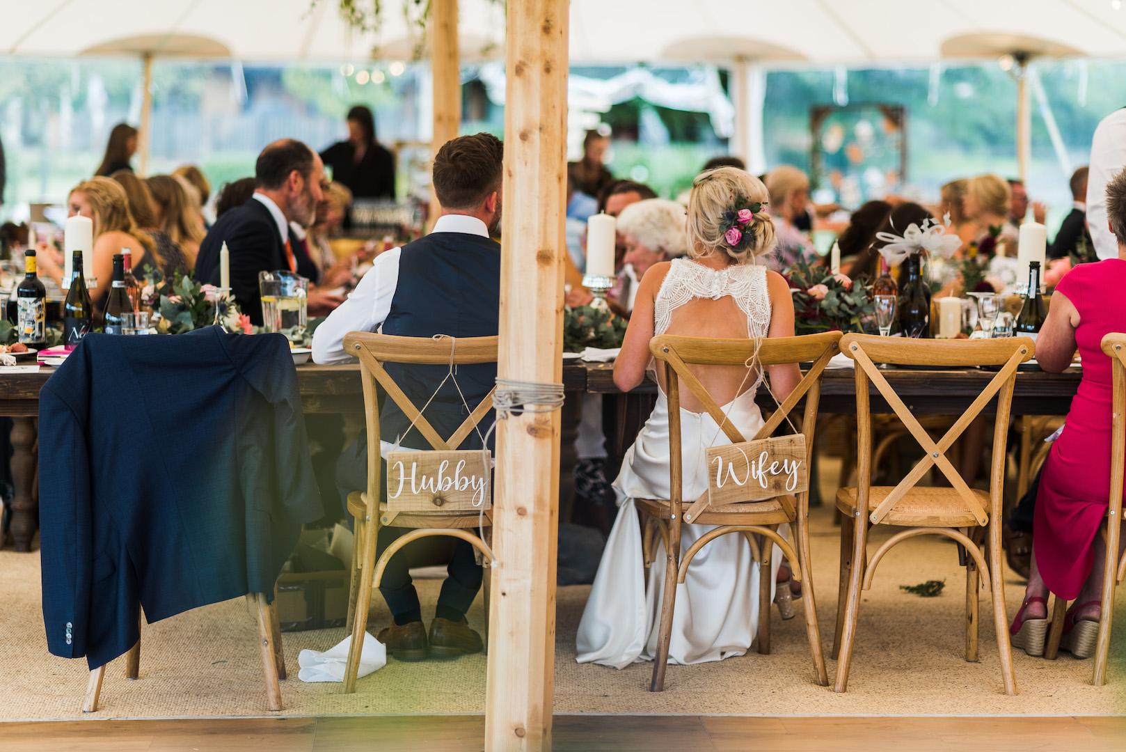 Sarah and Joe's PapaKata Sperry Wedding: Cross back chairs