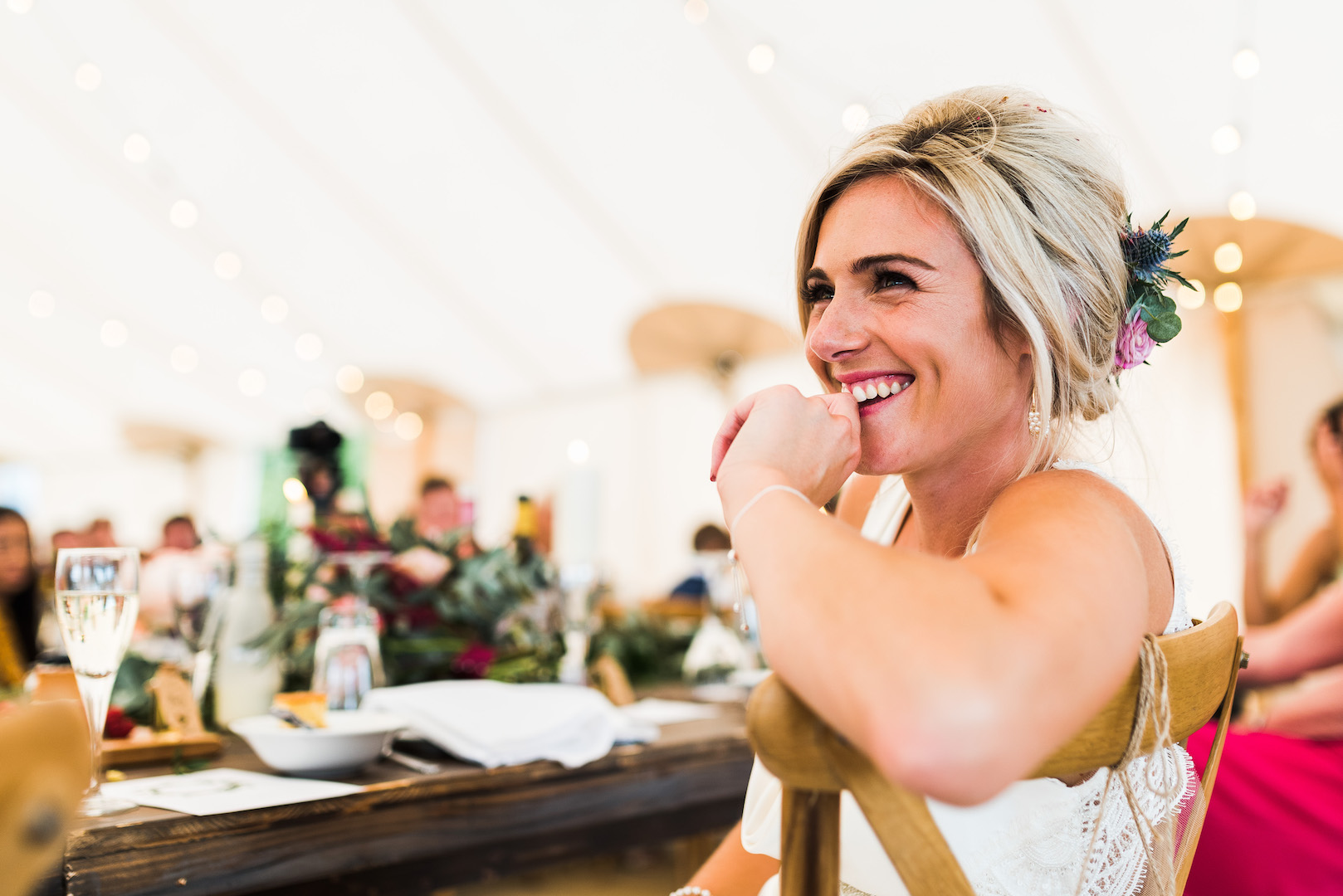 Sarah and Joe's PapaKata Sperry Wedding: Bride with Sperry tent interior