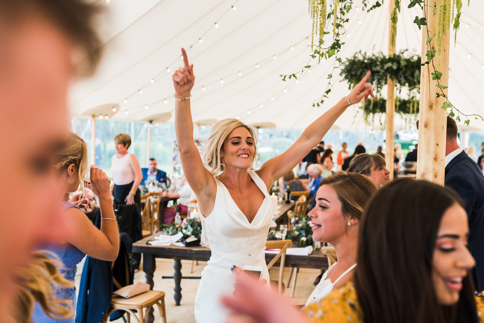 Sarah and Joe's PapaKata Sperry Wedding: Sperry tent interior by Paul Mockford Photography