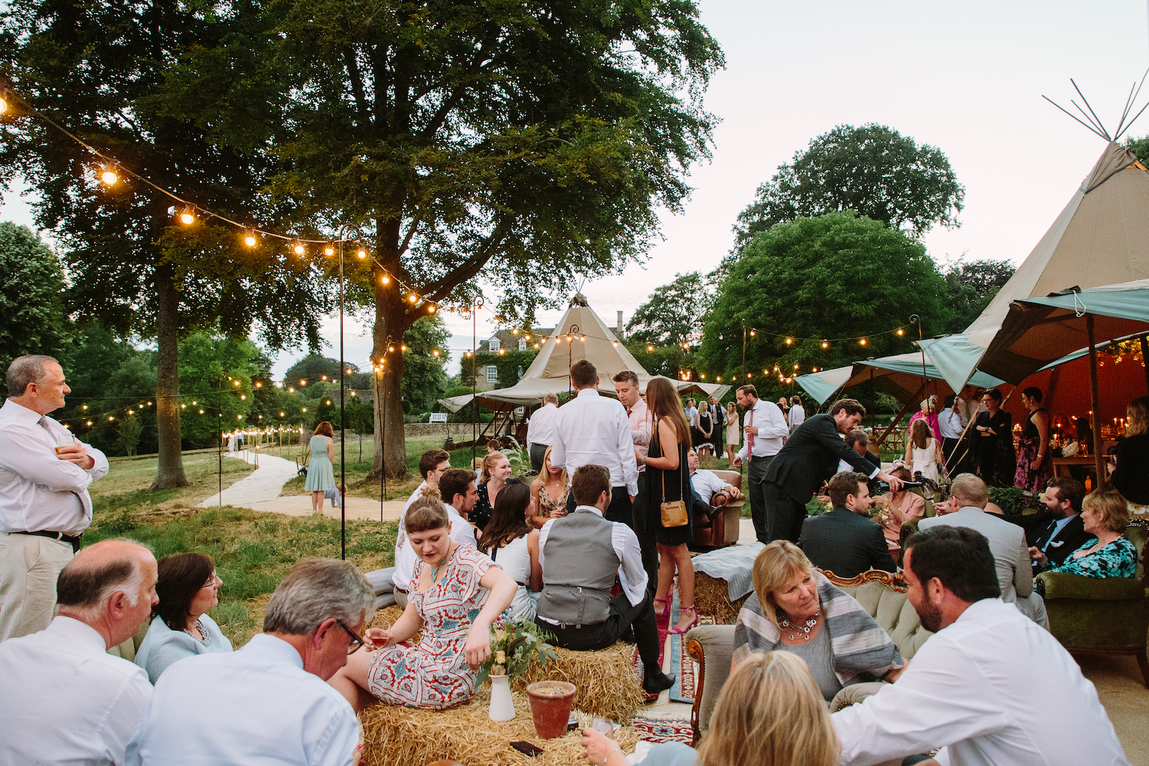 Brennan & Tom's PapaKåta Teepee Wedding, Cornwell Manor: Alfresco Chill Out Area