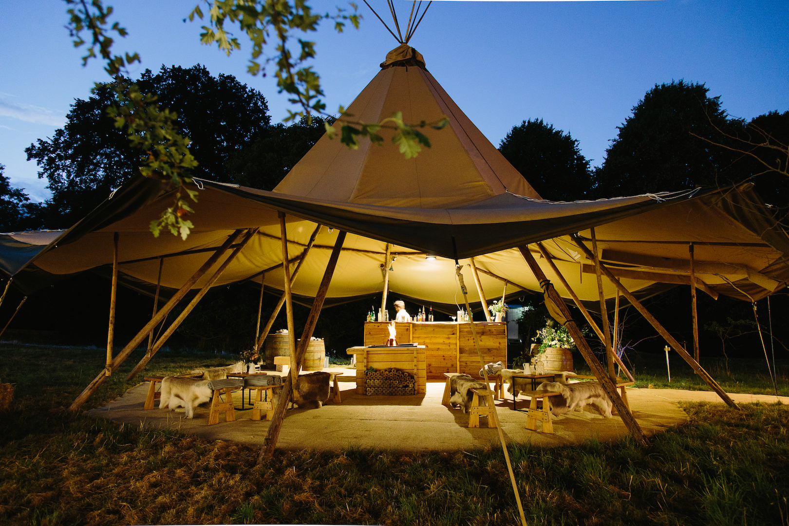 Brennan & Tom's PapaKåta Teepee Wedding, Cornwell Manor: Witches Hat at Night by Barker Evans Photography