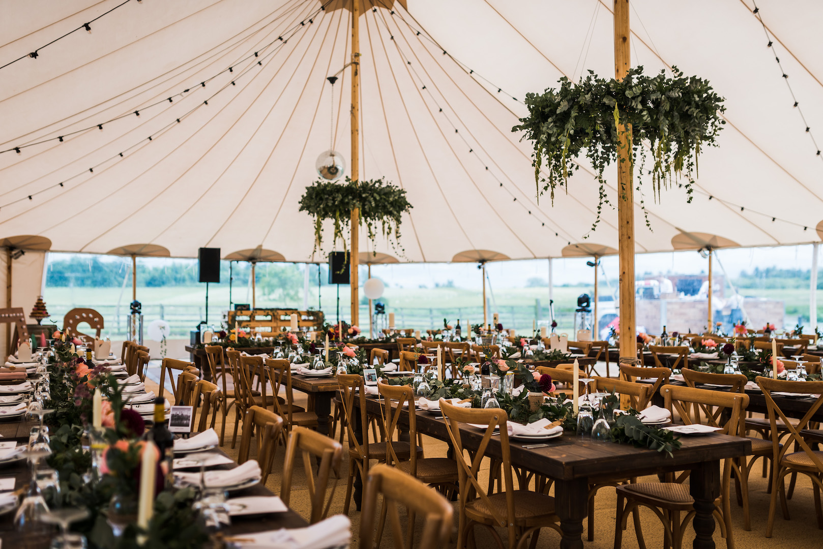 Sarah and Joe's PapaKata Sperry Wedding: Farmhouse Tables and Cross Back Chairs