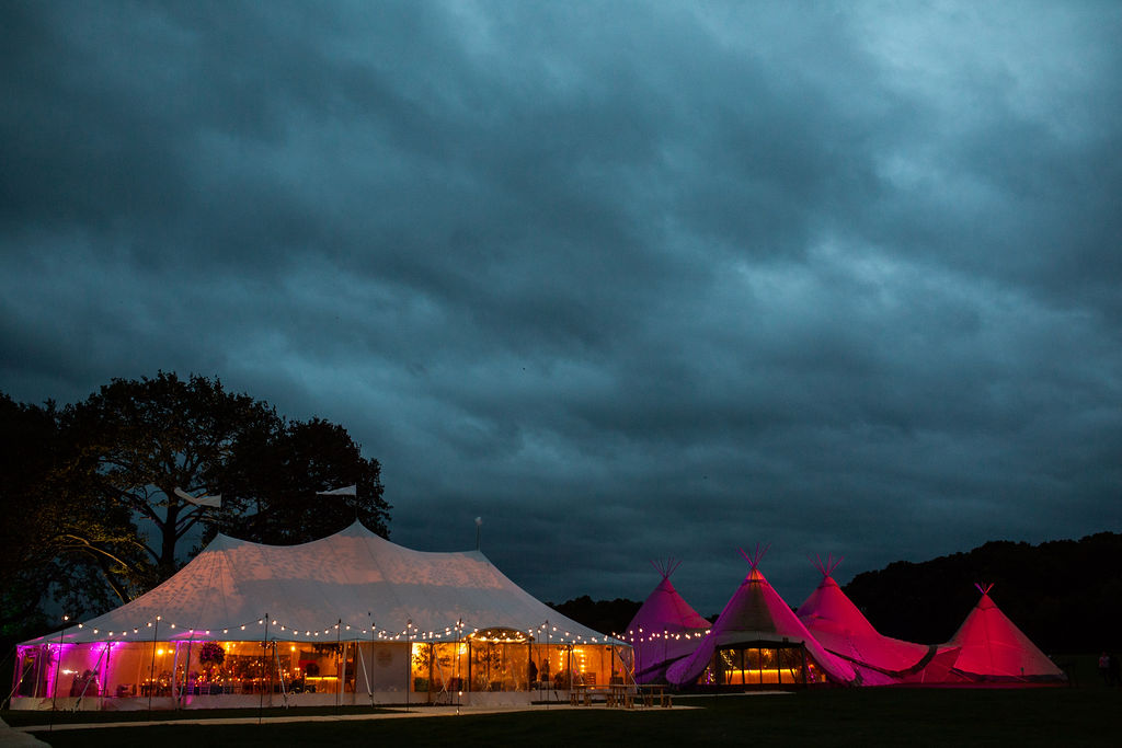 PapaKåta Sperry Tent and Teepees at night by Natasha Cadman Photography.