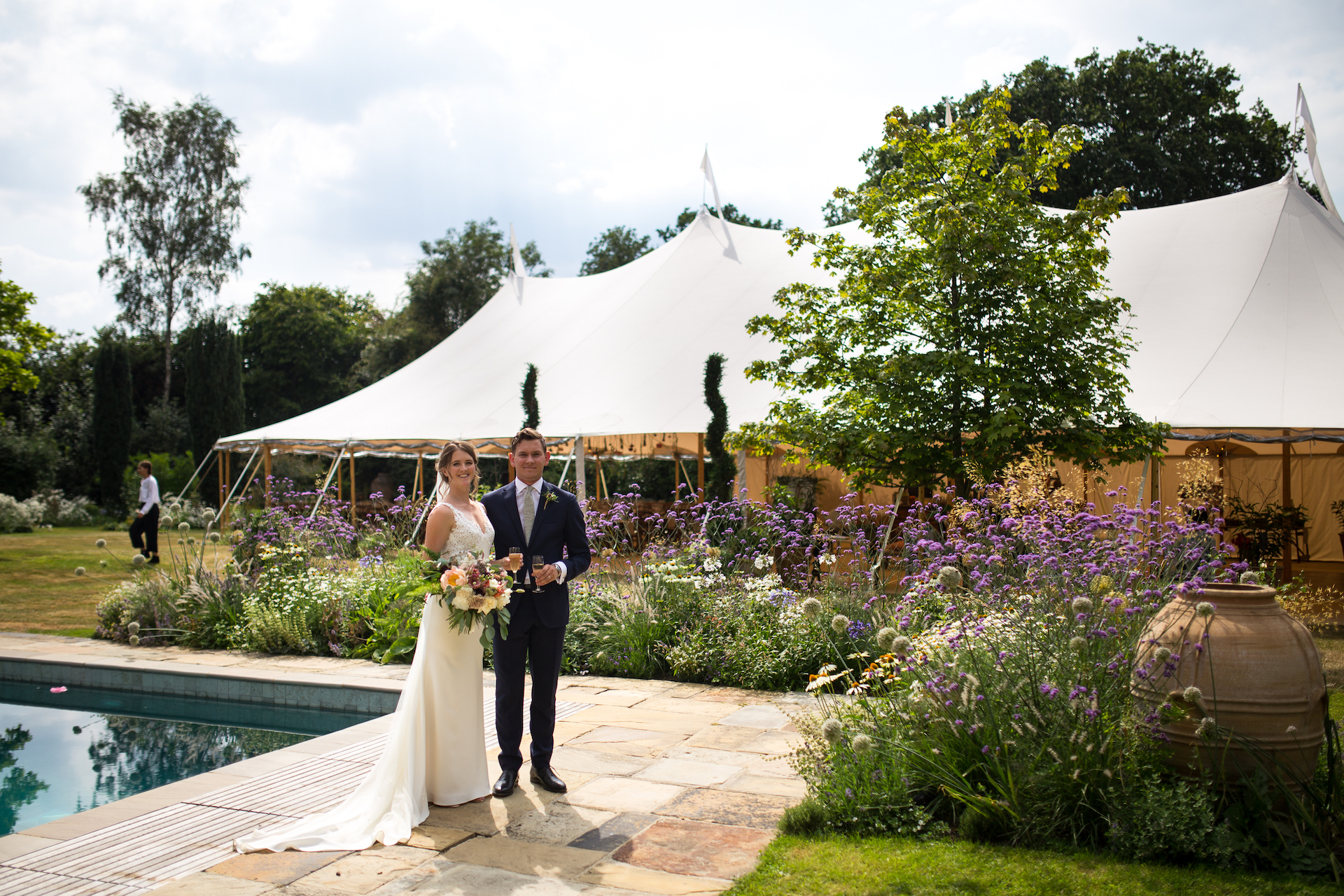 PapaKåta Sperry Tent Wedding at Ella & George's family home in Sussex- The new Mr & Mrs