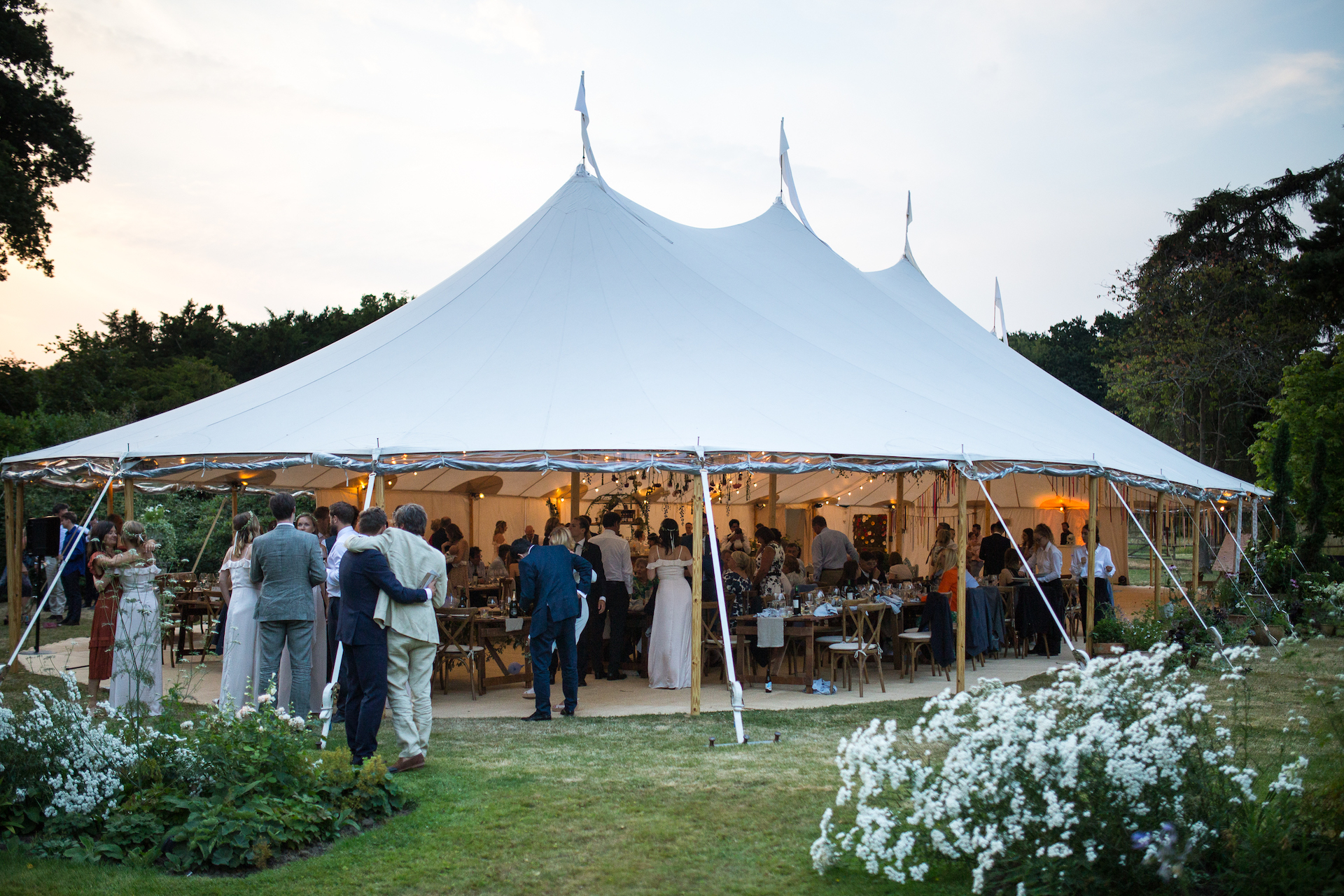 PapaKåta Sperry Tent Wedding at Ella & George's family home in Sussex- Sperry Tent Exterior by Oliver Photography