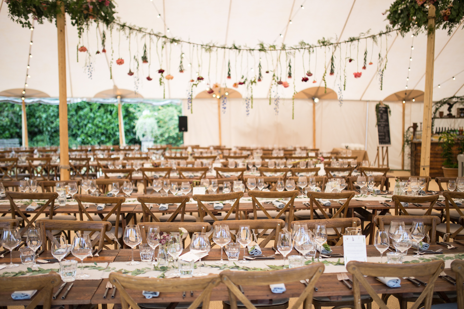 PapaKåta Sperry Tent Wedding at Ella & George's family home in Sussex- Sperry Tent interior by Oliver Photography