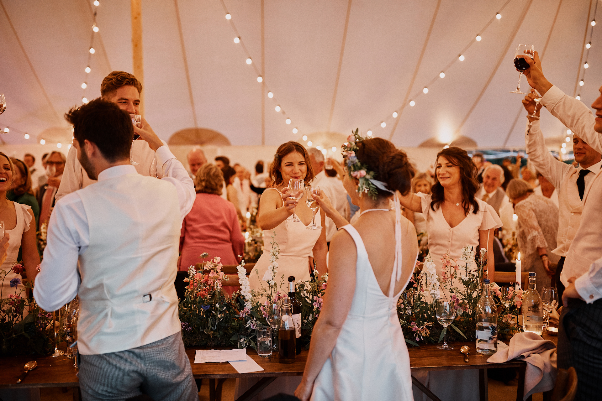 PapaKata Couple Claudia & Jimmy Sperry Tent Wedding at Norton Hall captured by Benjamin Wheeler- A Toast To The Happy Couple