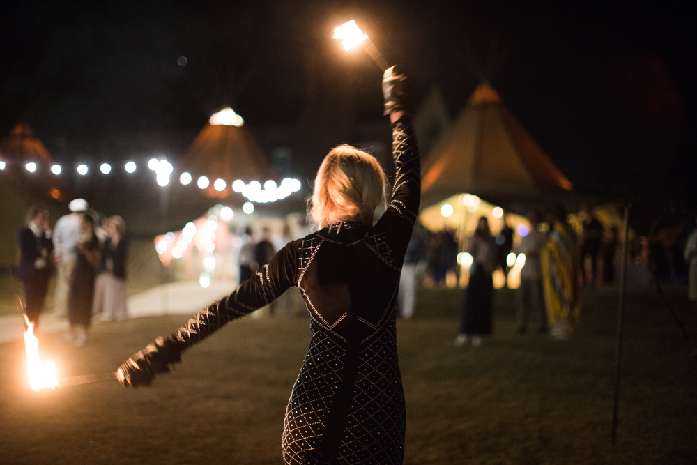 PapaKåta Teepee Wedding in Buckinghamshire Planned by Charlotte Elise Weddings and Events captured by Cecelina Photography- Fire eater entertainment