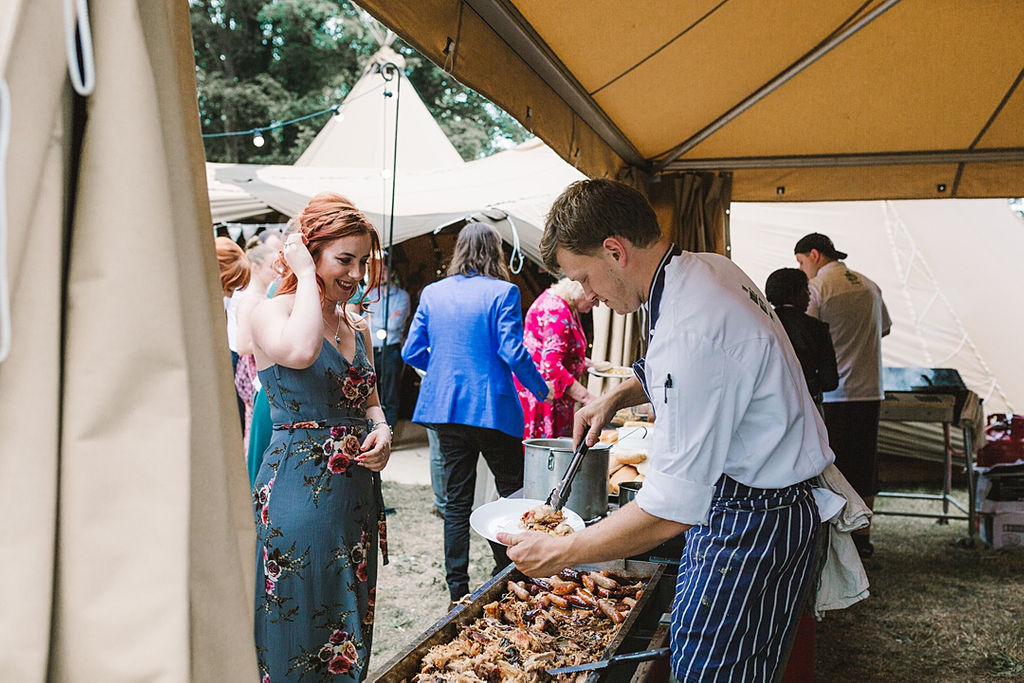 PapaKata Chilled DIY Festival Inspired Teepee Wedding Captured by Anna Wood Photography- BBQ by Ribble Valley Catering