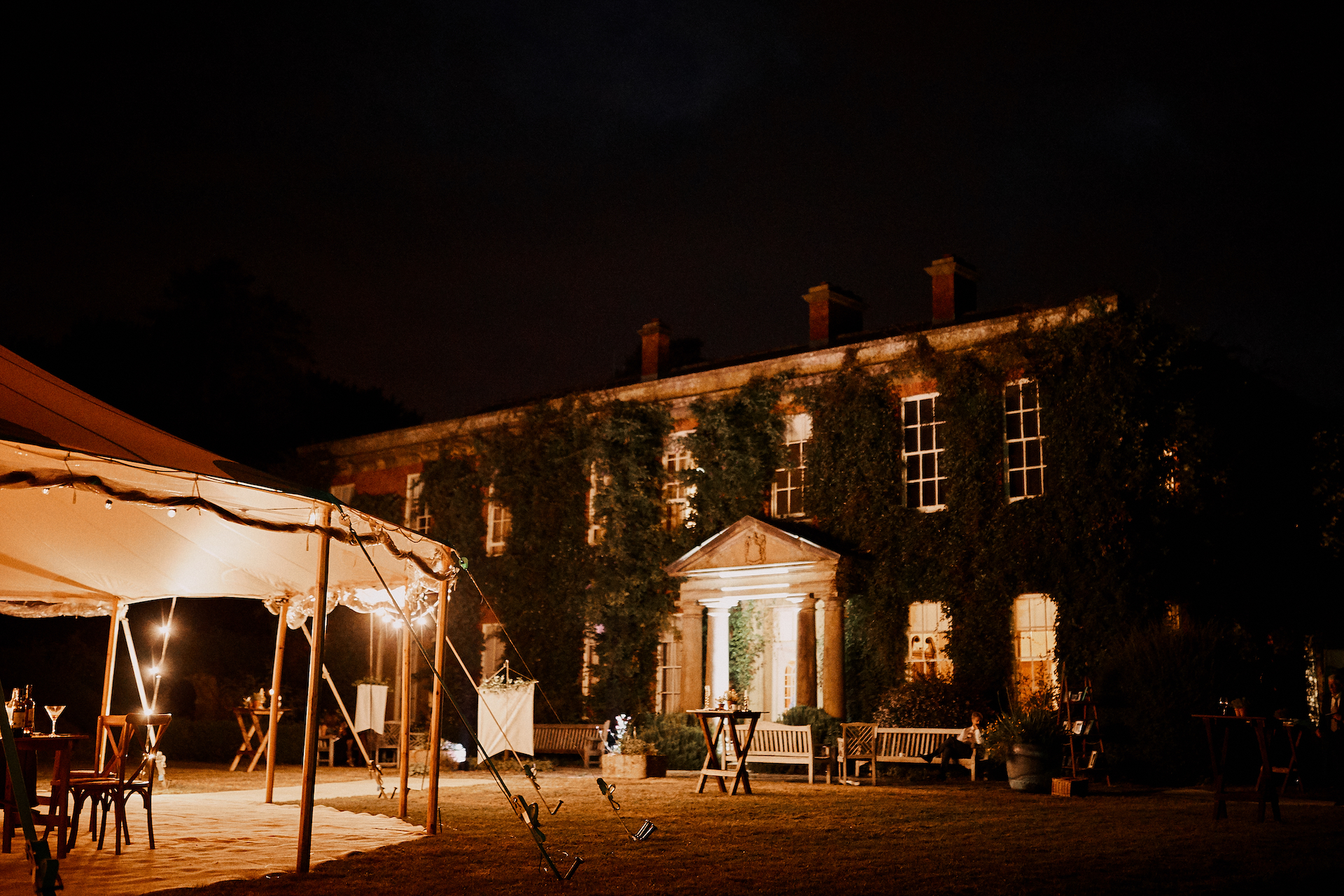 PapaKata Couple Claudia & Jimmy Sperry Tent Wedding at Norton Hall captured by Benjamin Wheeler- Sperry Tent Exterior Night
