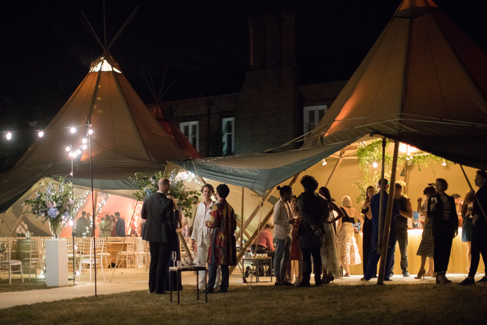 PapaKåta Teepee Wedding in Buckinghamshire Planned by Charlotte Elise Weddings and Events captured by Cecelina Photography- Teepee Exterior at night