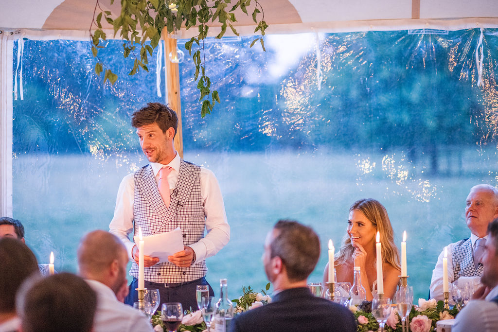 PapaKåta Couple Lucy & Martin's Sperry Tent Wedding at Norton Hall captured by Dan Morris Photography- Speeches
