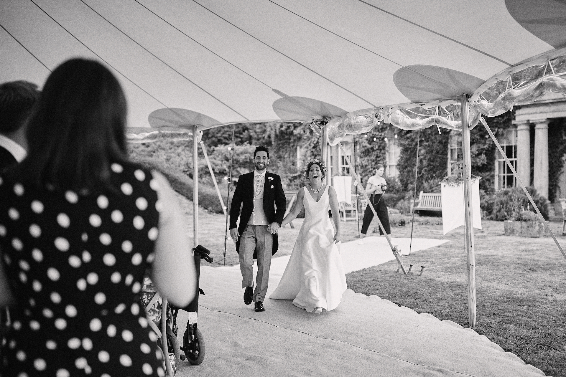 PapaKata Couple Claudia & Jimmy Sperry Tent Wedding at Norton Hall captured by Benjamin Wheeler- Making an entrance