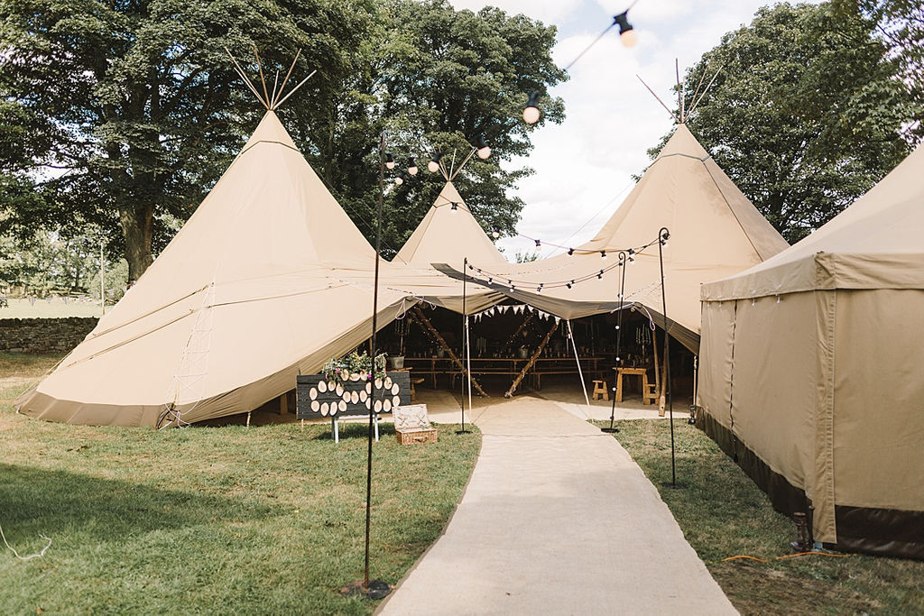 PapaKata Chilled DIY Festival Inspired Teepee Wedding Captured by Anna Wood Photography- Festoon Lit Walkway and Teepee Exterior