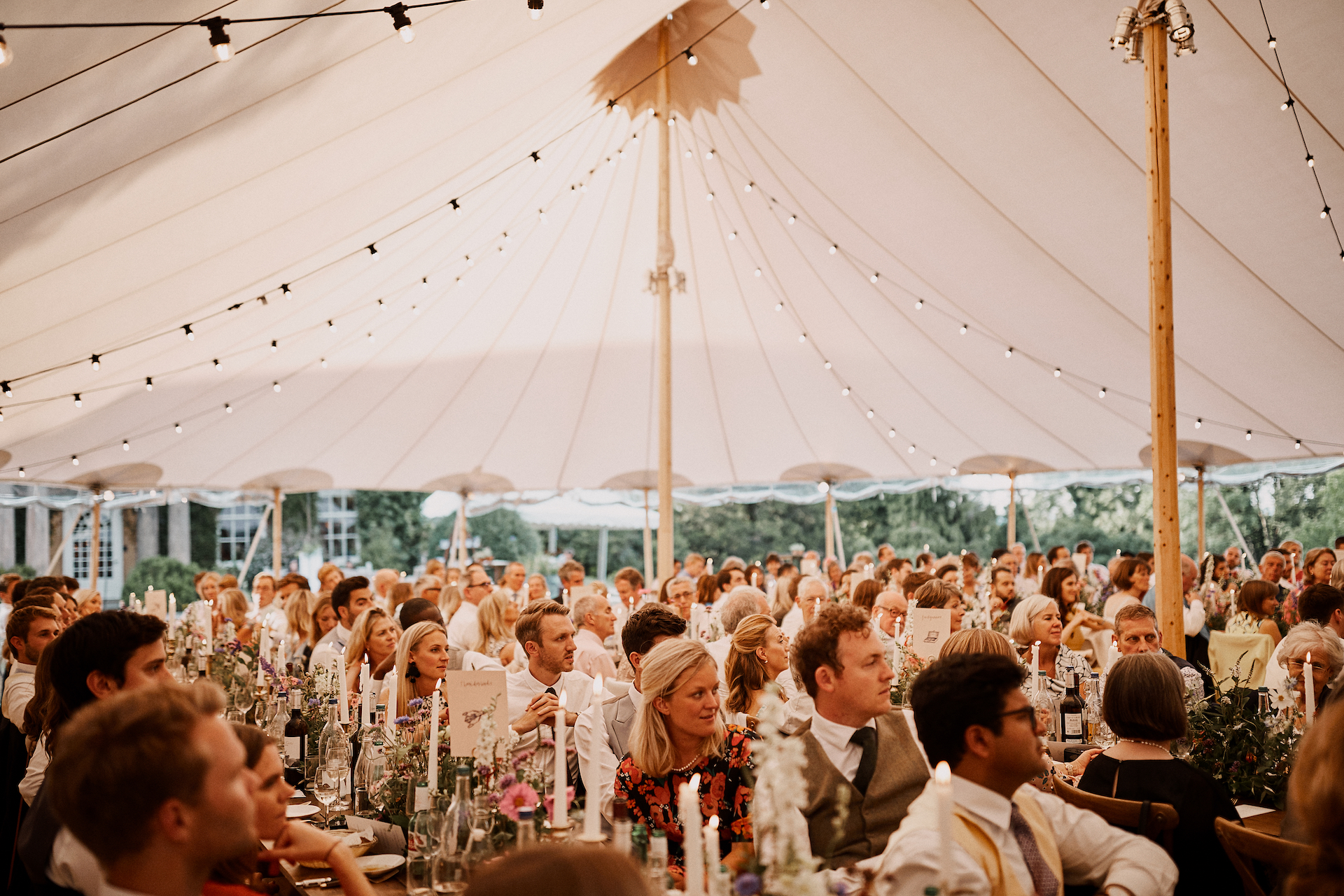 PapaKata Couple Claudia & Jimmy Sperry Tent Wedding at Norton Hall captured by Benjamin Wheeler- Sperry Tent interior