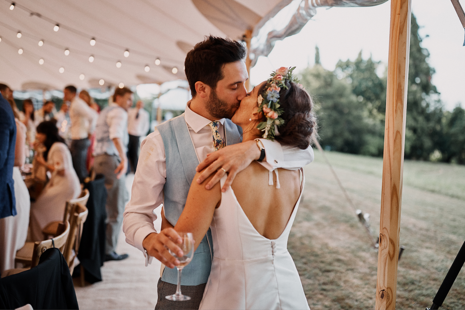 PapaKata Couple Claudia & Jimmy Sperry Tent Wedding at Norton Hall captured by Benjamin Wheeler- Bridal Style and Floral Crown