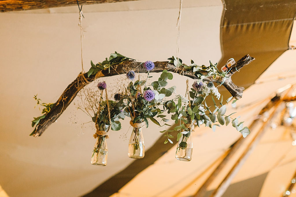 PapaKata Chilled DIY Festival Inspired Teepee Wedding Captured by Anna Wood Photography- Hanging Floral Jars