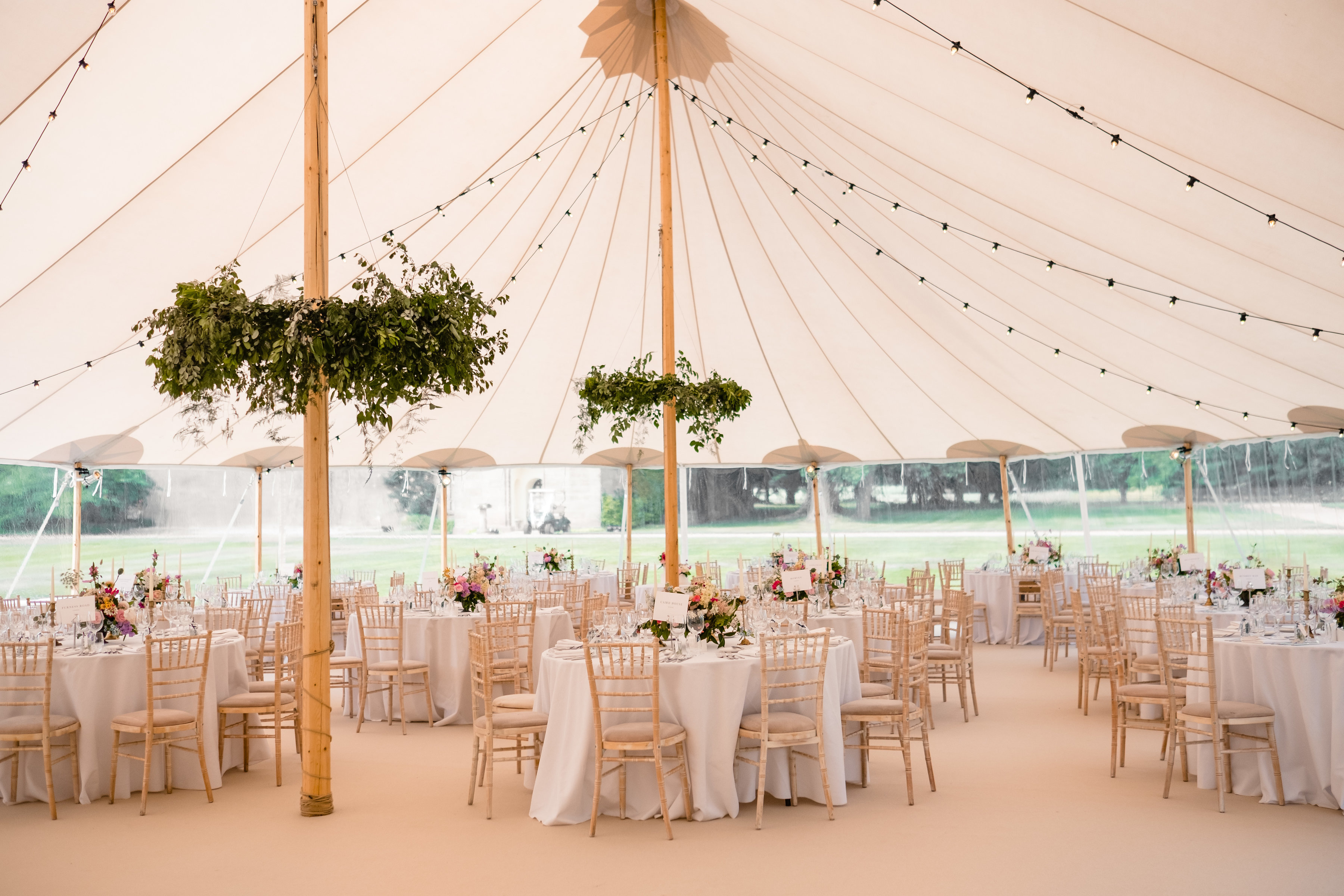 PapaKåta couple Lucy & Tom's Sperry Wedding at Gordon Castle Scotland captured by Helen Abraham Photography- Sperry Tent interior