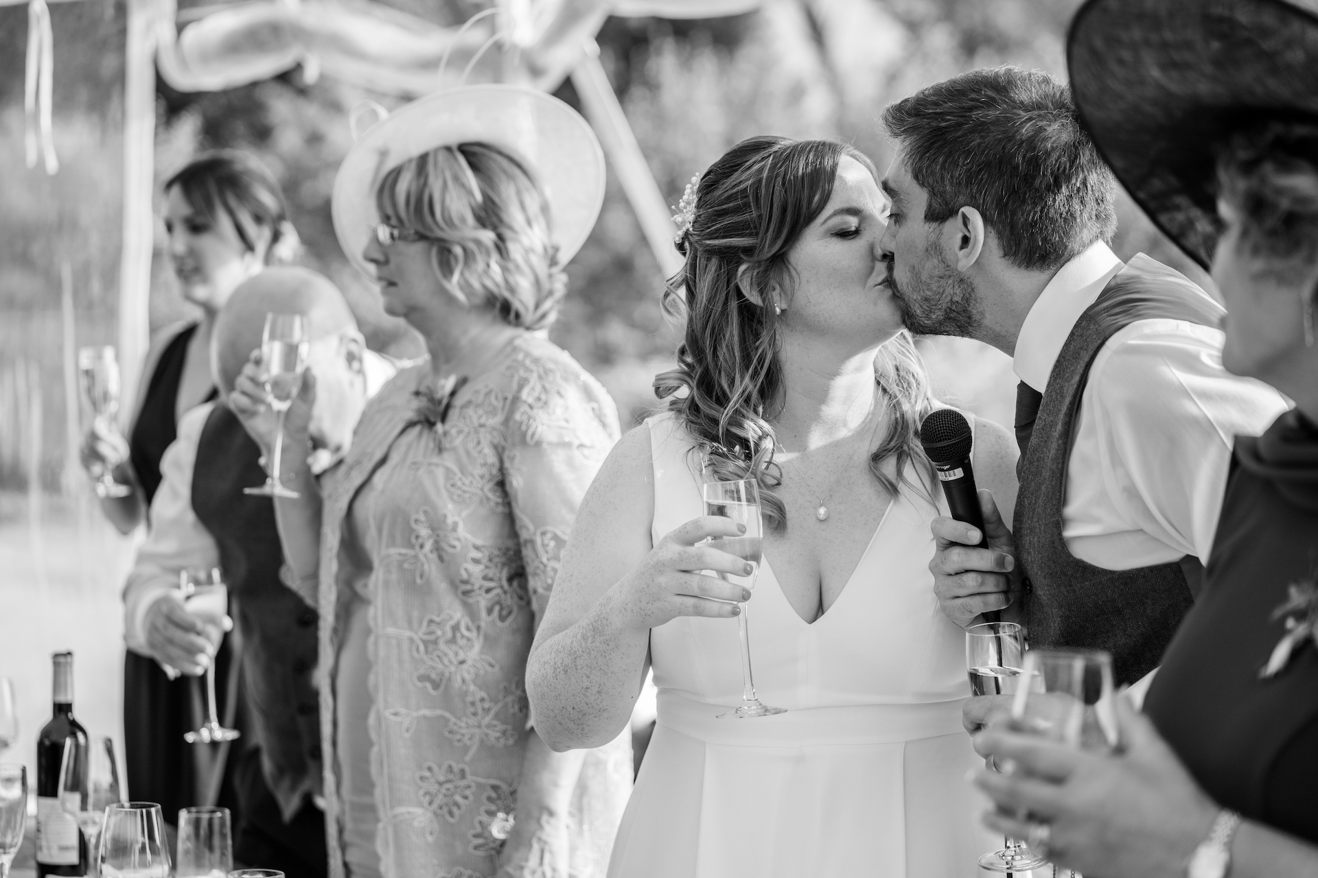 PapaKåta couple Louise & Alex's Sperry Wedding at Elford Hall Garden, Staffordshire captured by Jessica Raphael Photography- A toast to the bride & groom