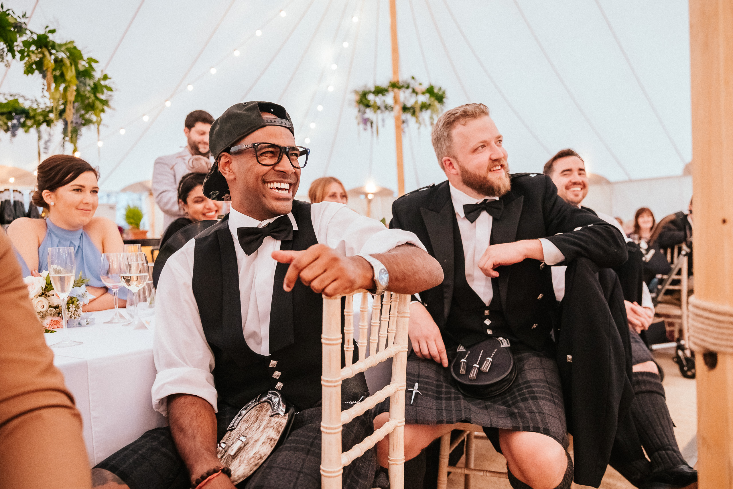 PapaKåta couple April & Martin's Sperry wedding at Arniston House, Scotland captured by Laurence Howe Photography- Groomsmen styling