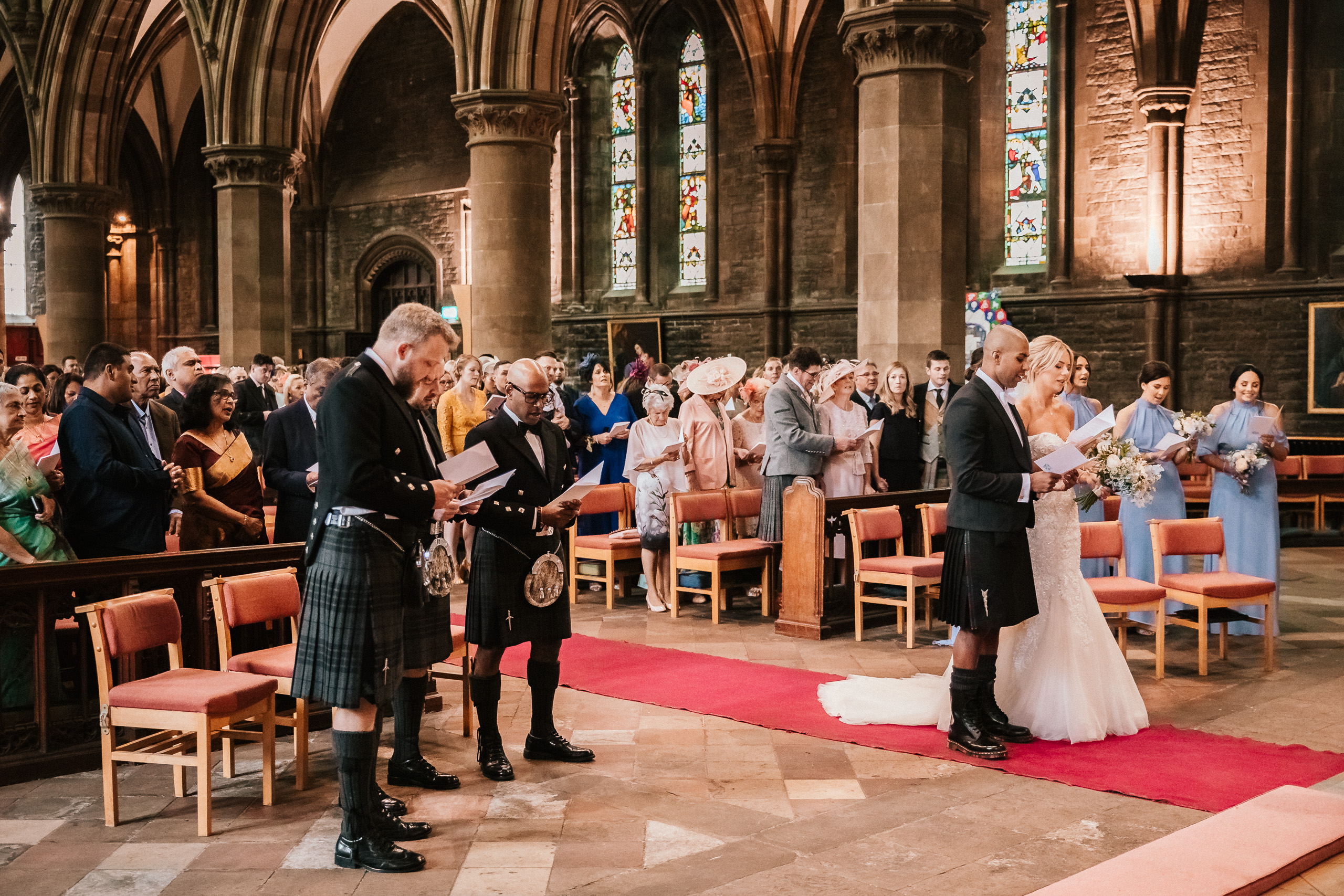 PapaKåta couple April & Martin's Sperry wedding at Arniston House, Scotland captured by Laurence Howe Photography- Ceremony at St Mary's Cathedral Edinburgh
