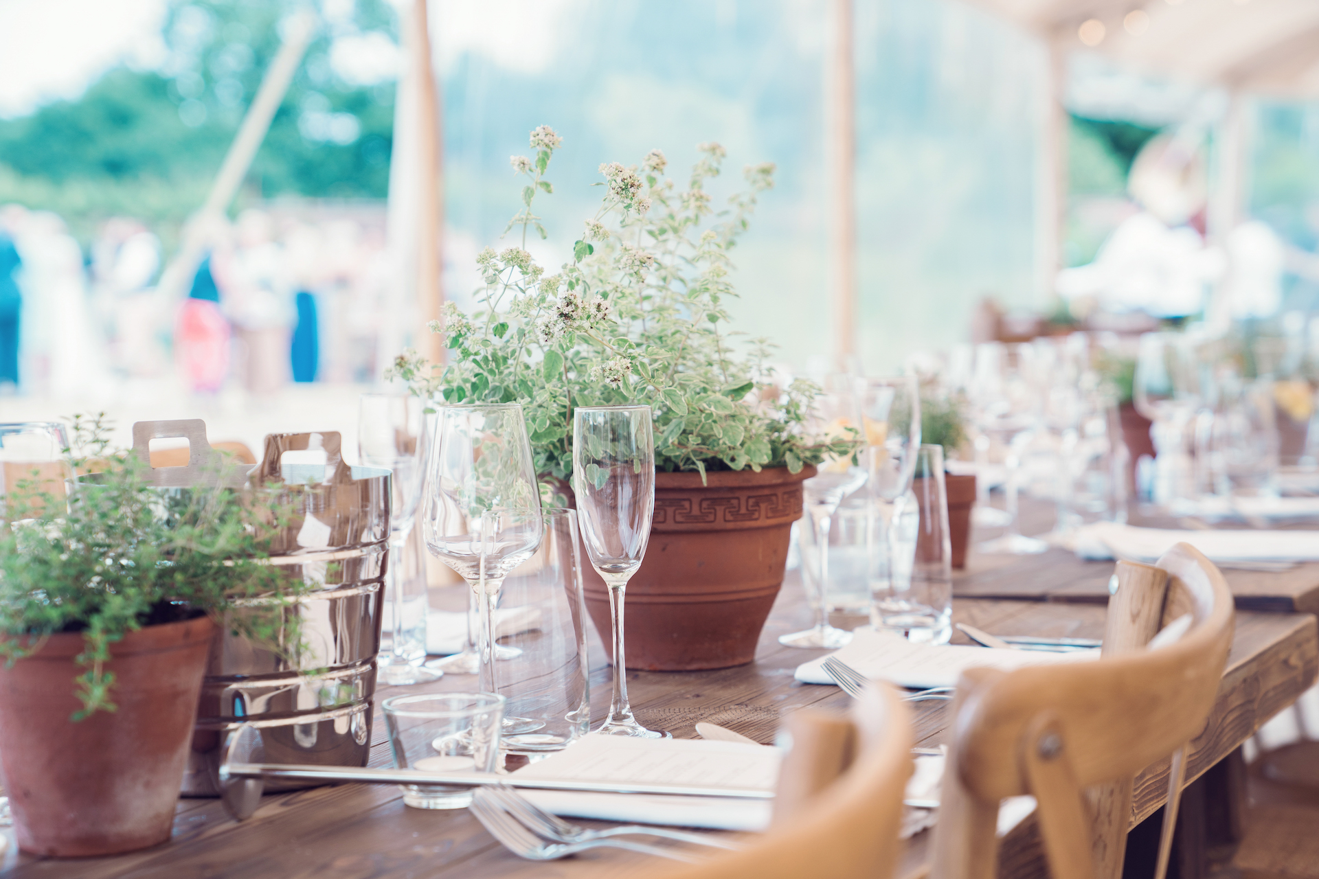 PapaKåta couple Louise & Alex's Sperry Wedding at Elford Hall Garden, Staffordshire captured by Jessica Raphael Photography- Pretty potted blooms by Emily Wisher