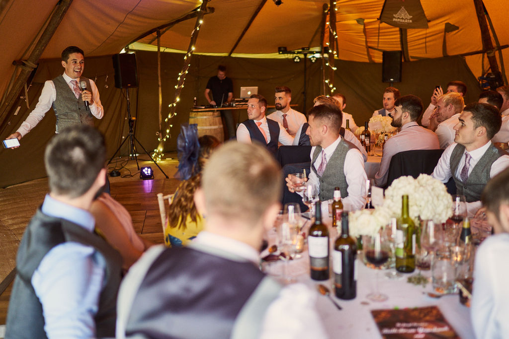PapaKåta couple Lucy & Chris' Teepee Wedding in Terrington North Yorkshire captured by Chris Morse Photography- Wedding Speeches