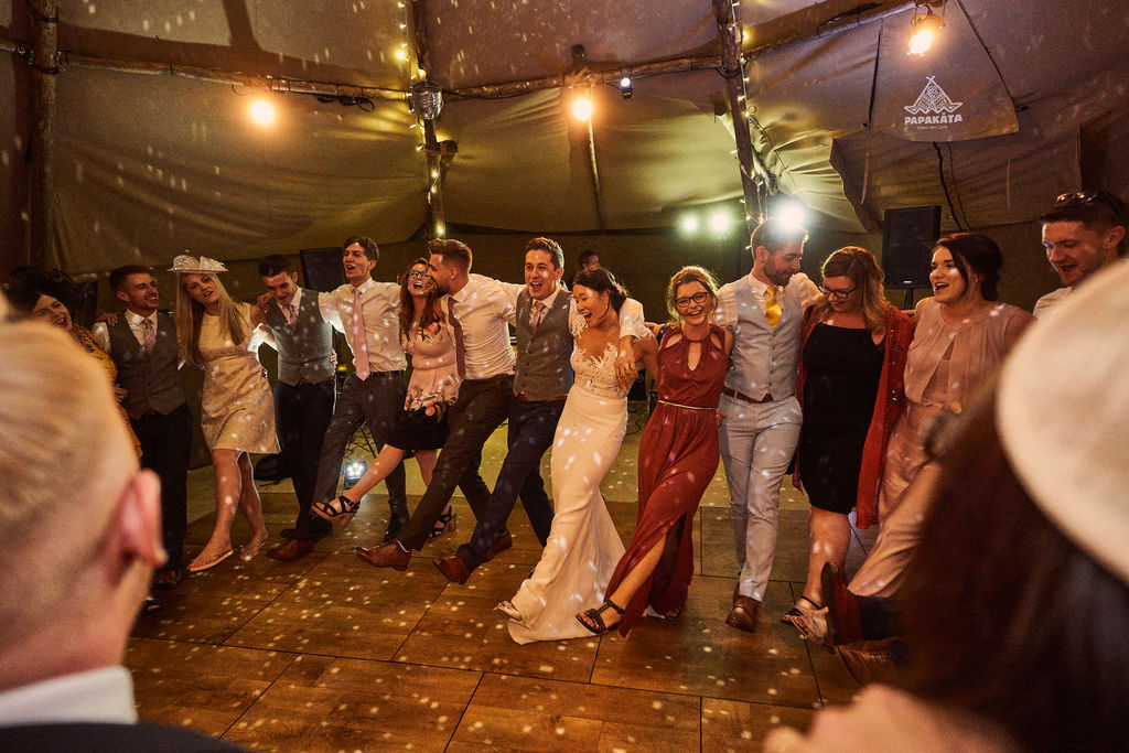 PapaKåta couple Lucy & Chris' Teepee Wedding in Terrington North Yorkshire captured by Chris Morse Photography- Dancing