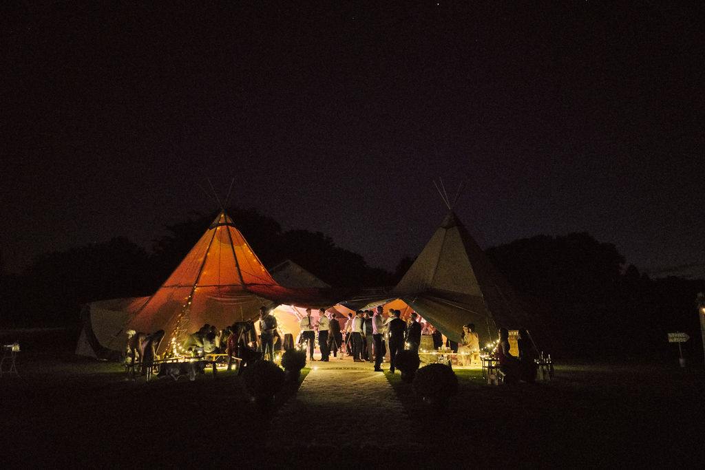 PapaKåta couple Lucy & Chris' Teepee Wedding in Terrington North Yorkshire captured by Chris Morse Photography- Teepee exterior at night