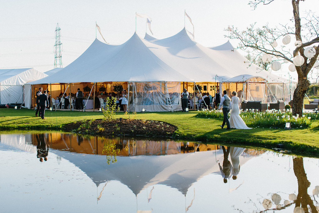 PapaKåta couple Georgina & Steve Sperry Tent Wedding in Barnby Dun, Doncaster captured by Melissa Beattie- Sperry Tent with lake views