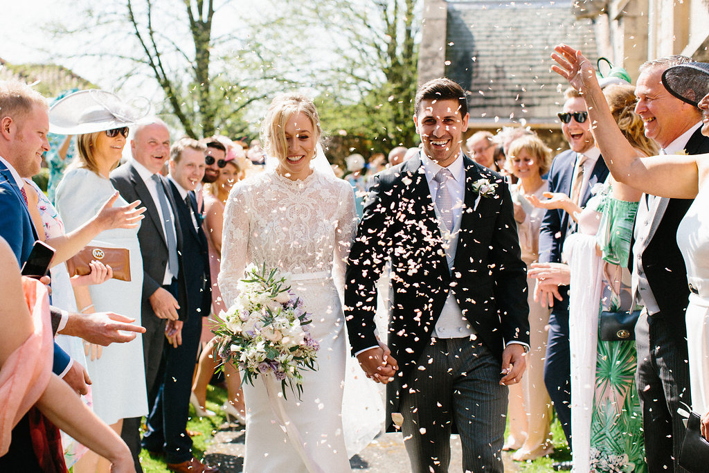 PapaKåta couple Georgina & Steve Sperry Tent Wedding in Barnby Dun, Doncaster captured by Melissa Beattie- Confetti throw