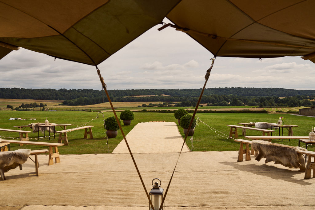 PapaKåta couple Lucy & Chris' Teepee Wedding in Terrington North Yorkshire captured by Chris Morse Photography- Teepee views of North Yorkshire valleys