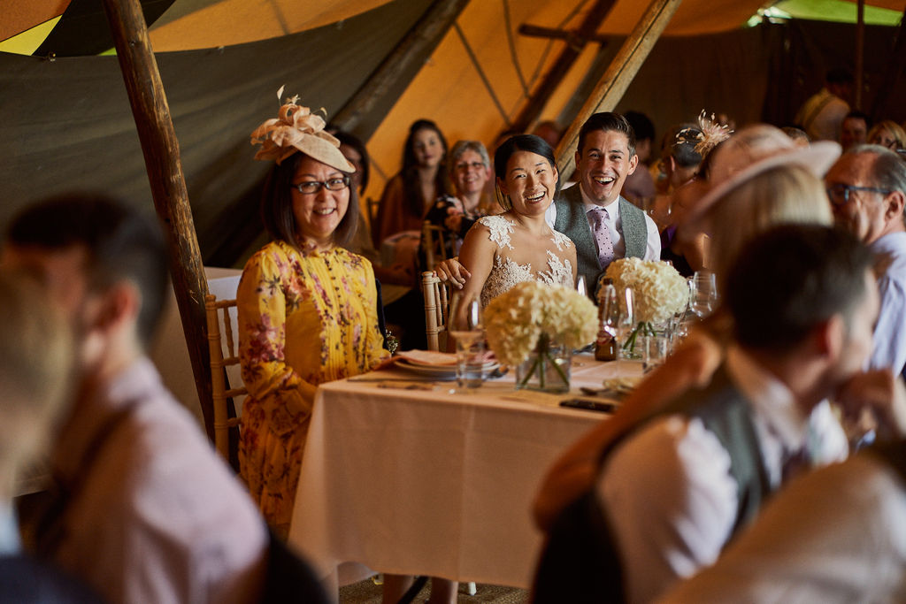PapaKåta couple Lucy & Chris' Teepee Wedding in Terrington North Yorkshire captured by Chris Morse Photography- The bride & groom