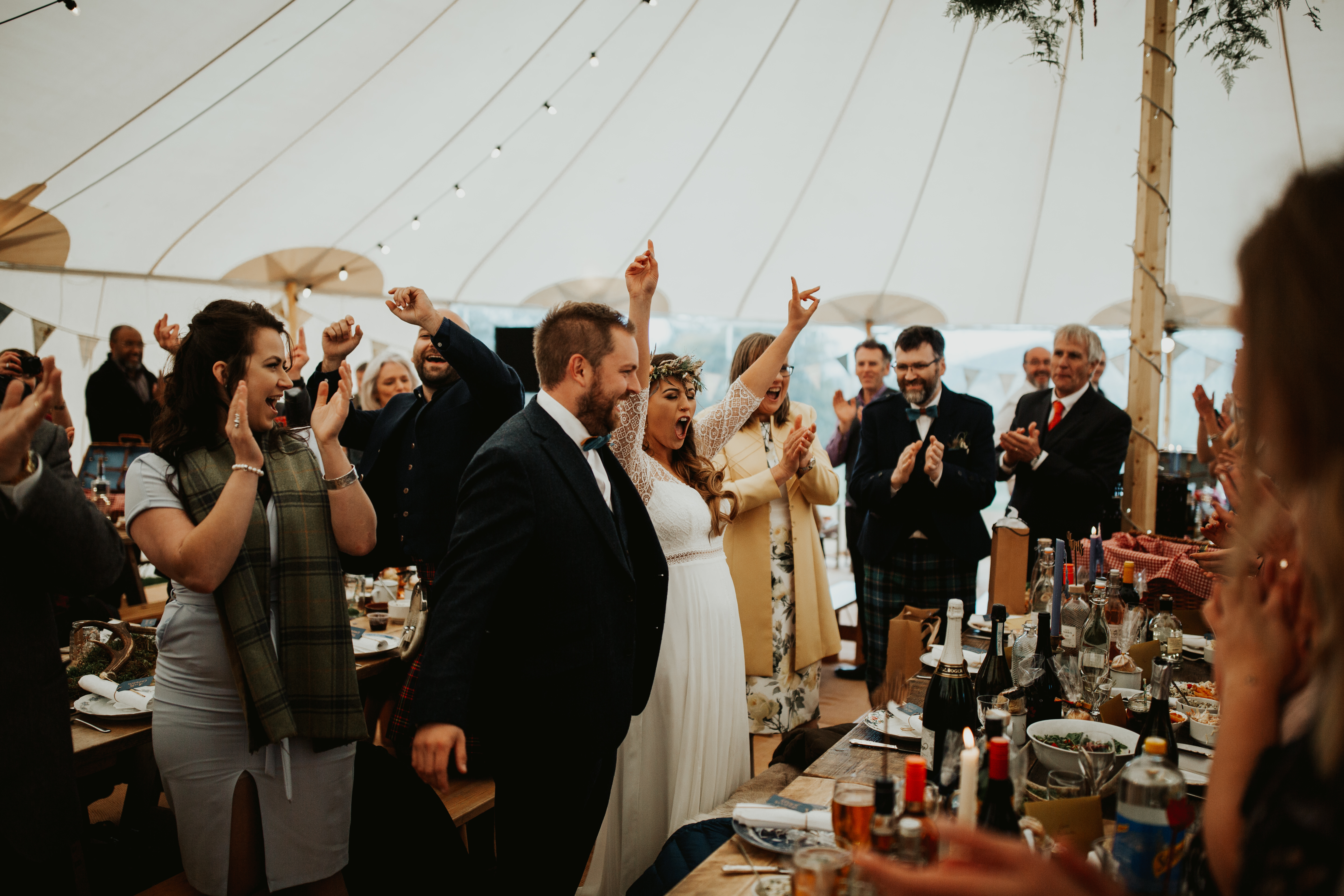 PapaKåta couple Eilidh & Lloyd's Sperry Wedding in Glenfarg, Perthshire captured by Colin Ross Photography- A toast to the couple