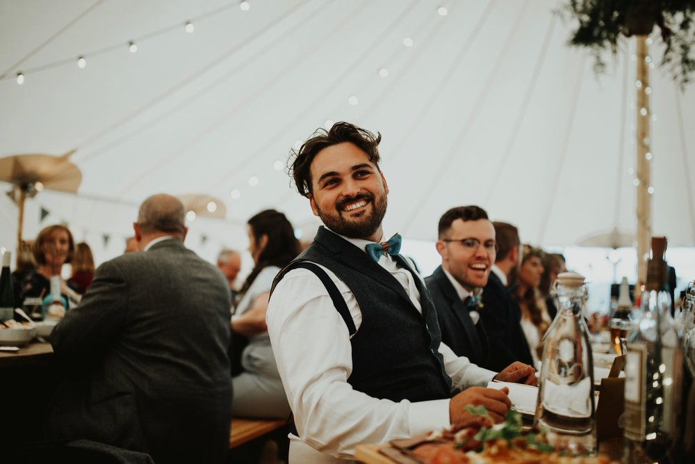 PapaKåta couple Eilidh & Lloyd's Sperry Wedding in Glenfarg, Perthshire captured by Colin Ross Photography- Wedding guest style