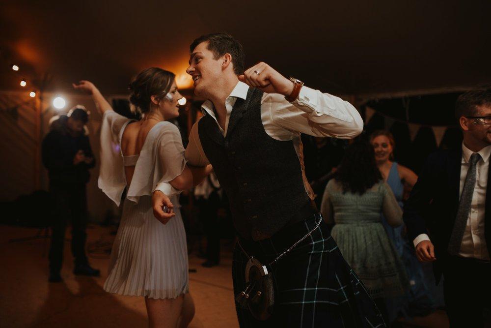 PapaKåta couple Eilidh & Lloyd's Sperry Wedding in Glenfarg, Perthshire captured by Colin Ross Photography- Ceilidh Dance