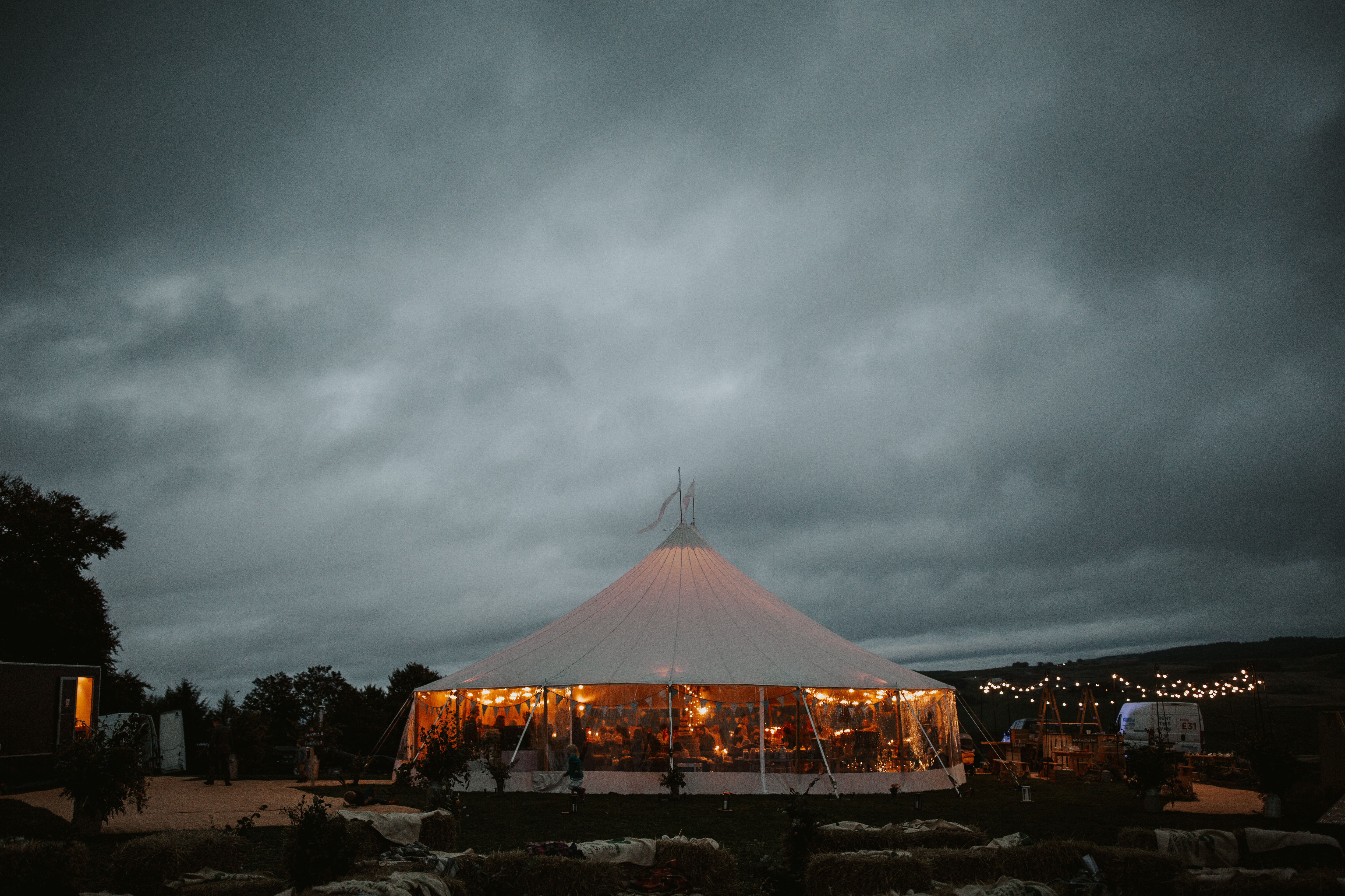 PapaKåta couple Eilidh & Lloyd's Sperry Wedding in Glenfarg, Perthshire captured by Colin Ross Photography- Sperry Tent Exterior at night