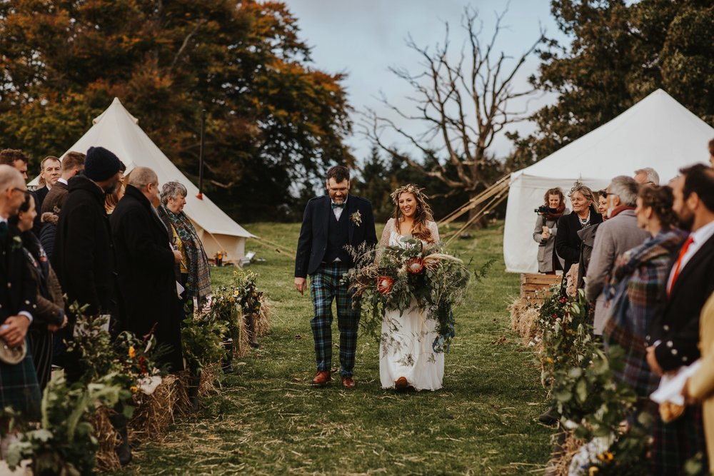 PapaKåta couple Eilidh & Lloyd's Sperry Wedding in Glenfarg, Perthshire captured by Colin Ross Photography- Outdoor Scottish Ceremony