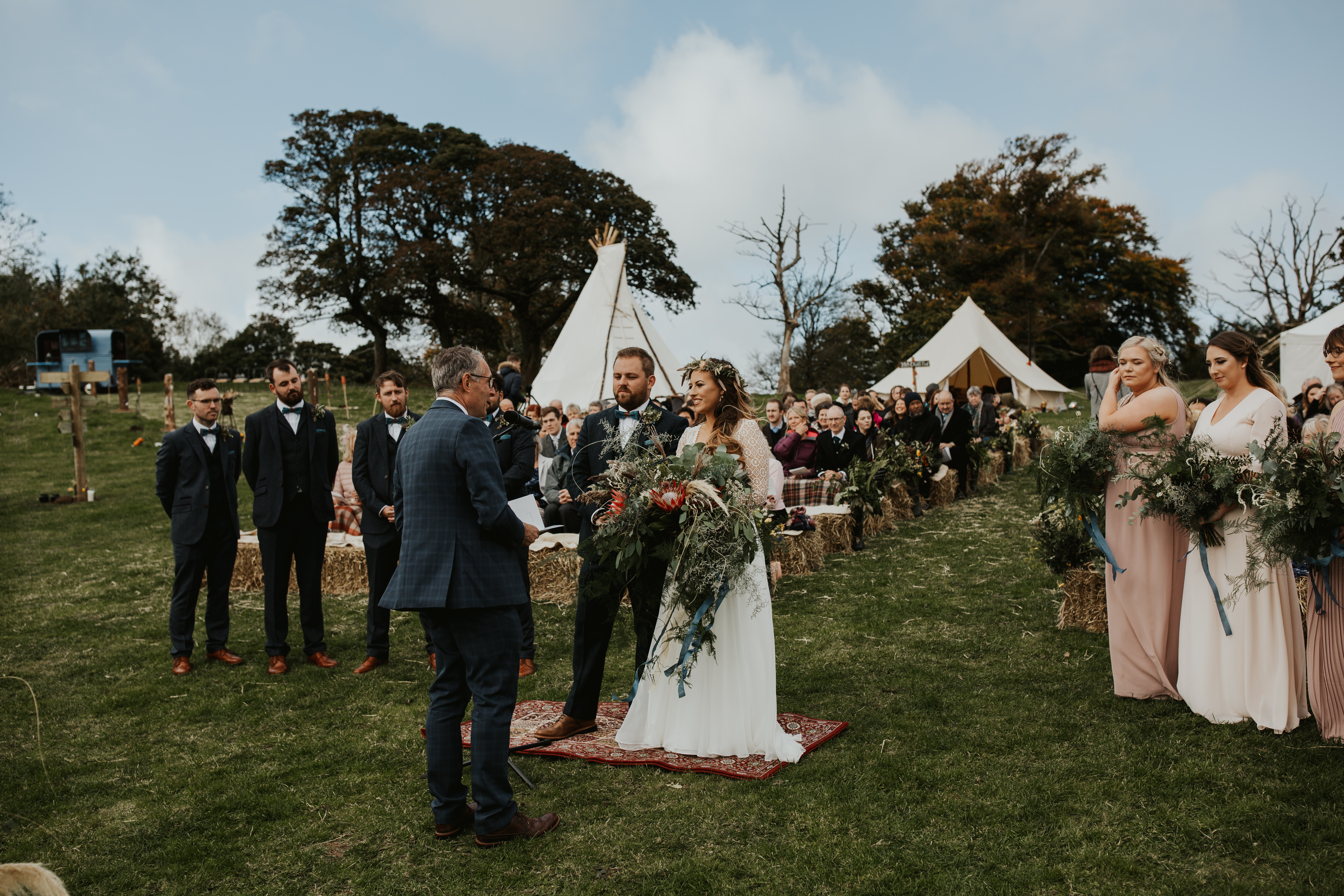 PapaKåta couple Eilidh & Lloyd's Sperry Wedding in Glenfarg, Perthshire captured by Colin Ross Photography- Outdoor Scottish Ceremony, Flowers by Cordon Farm Flowers