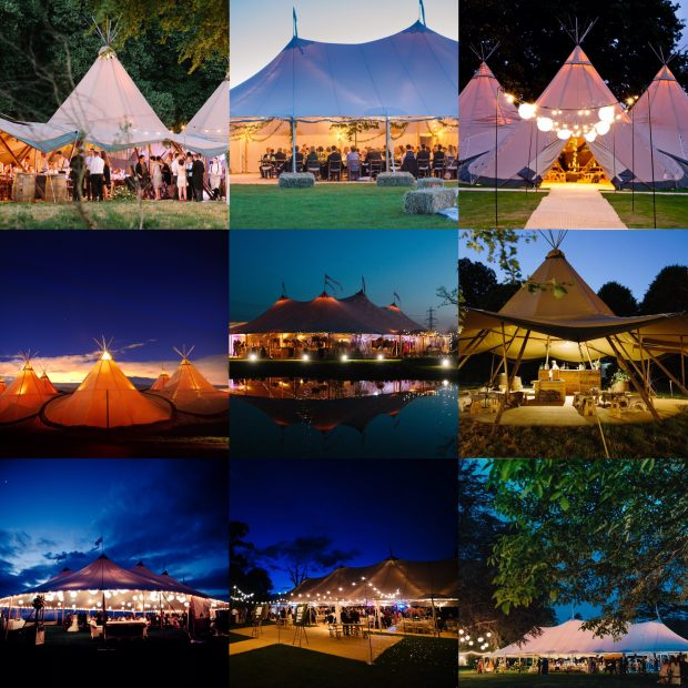 PapaKata Teepees and Sperry Tents at night