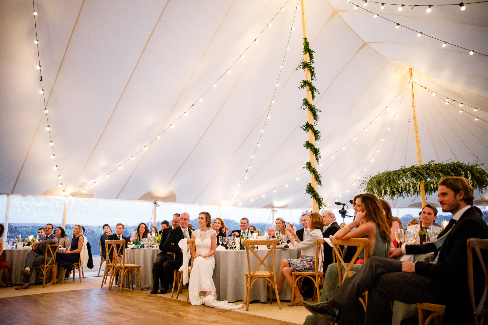 Emily & Ed's PapaKåta Sperry Tent wedding at Buckhurst Park captured by Tony Hart Photography: Sperry Tent interior